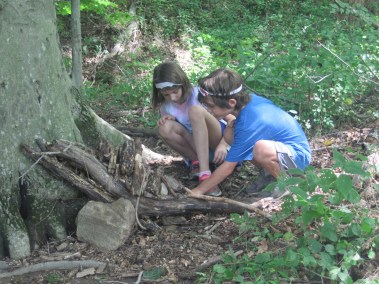 Howard County Conservancy Campers use natural items to build homes for wildlife at Mt. Pleasant during Summer Nature Day Camp