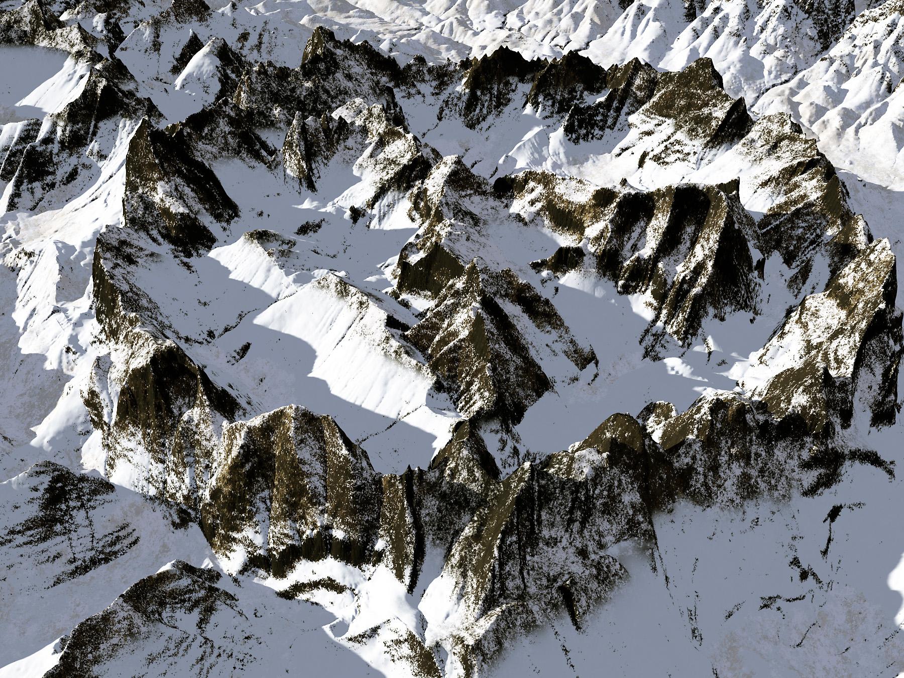 Terragen-generated mountain terrain