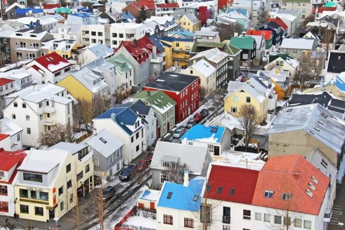 reykjavik city center in the winter