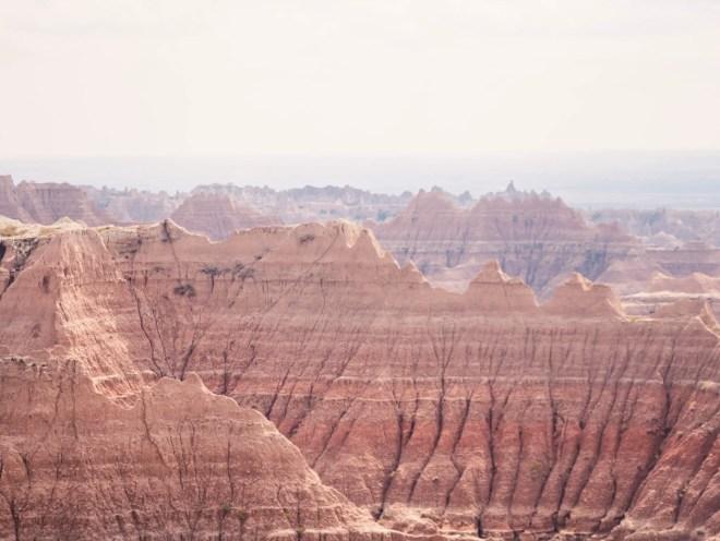 Striped layers of jagged pinnacles at Badlands National Park.