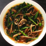 Miso noodle soup with kale and mushrooms
