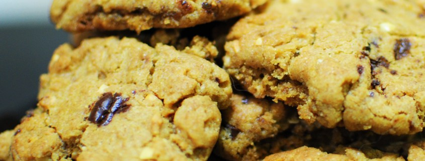 Peanut butter, chocolate chip cookies with ginger and molasses