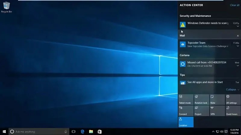 Windows 10 Notification and Actions Panel