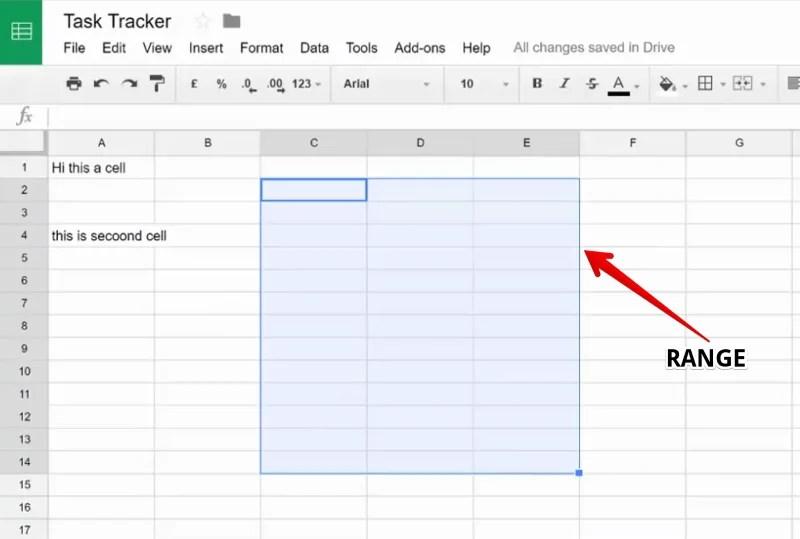 Range in a Google Sheet