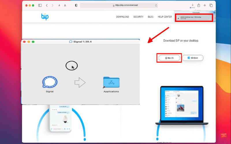bip web drag and drop to application