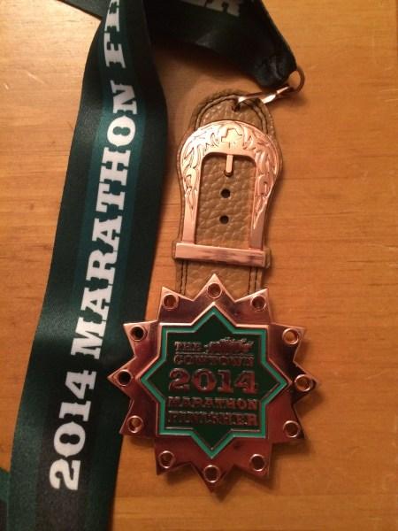 Cowtown Marathon medal 2014