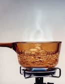 Brown Glass Bowl with Boiling Water
