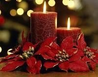 red candles with flowers