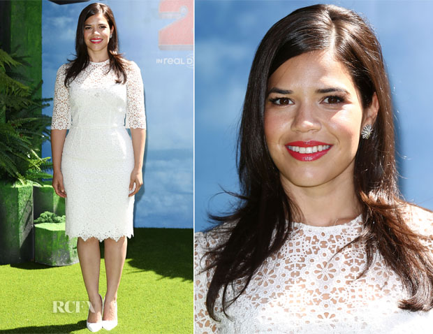 America Ferrera in White Dress
