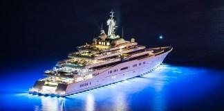 Eclipse Yacht night lights