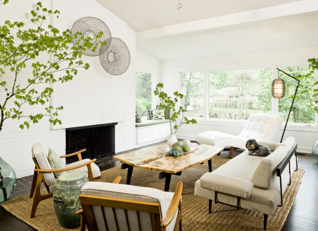 White Chairs Sofas Brown Jute Rug Living Room