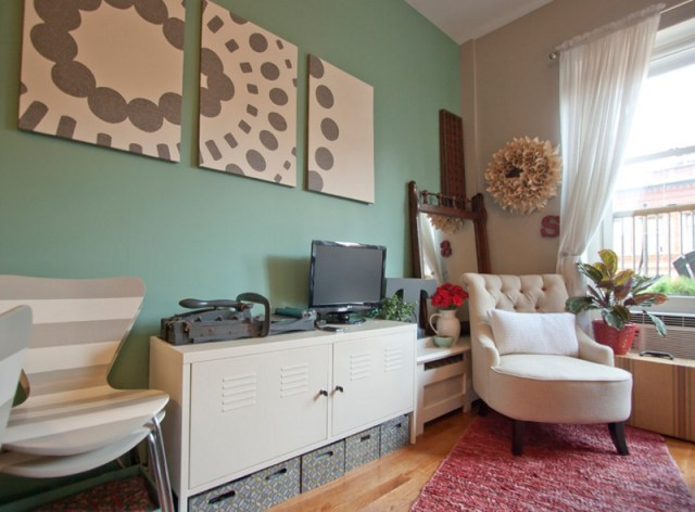 White Chairs with Green Walls Wood Floor Living Room