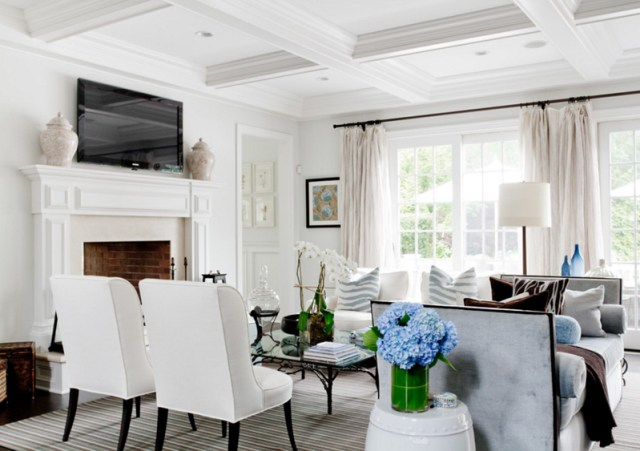 White Sofa with White Chairs Living Room