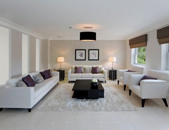 White Sofas Living Room White Rug Black Chandlier Yellow Lamps