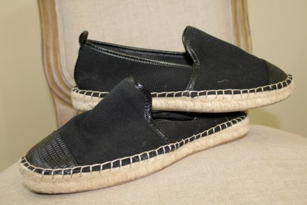 The Face Of Style: April Favorites - H&M black canvas espadrilles with faux leather toe