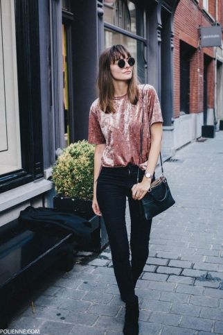 Outfit Inspiration - The Not So Basic Velvet Tee - The Face Of Style