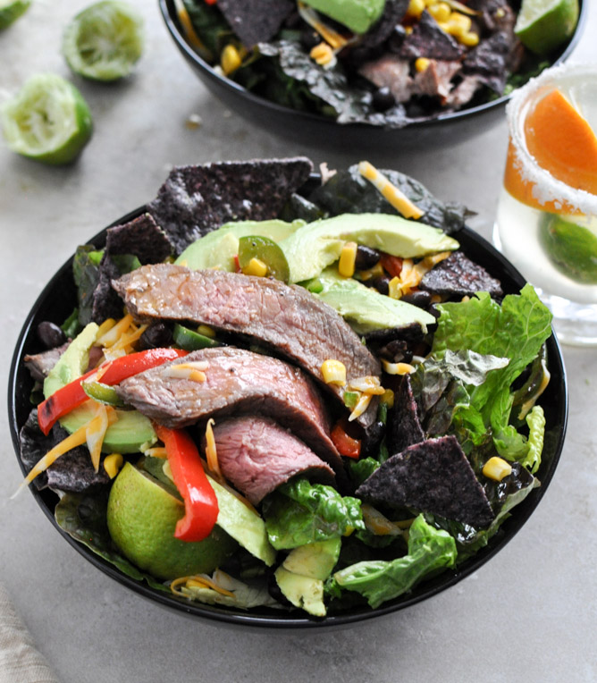 Tequila Lime Flank Steak Fajita Salad with Chile Lime Vinaigrette How Sweet it is