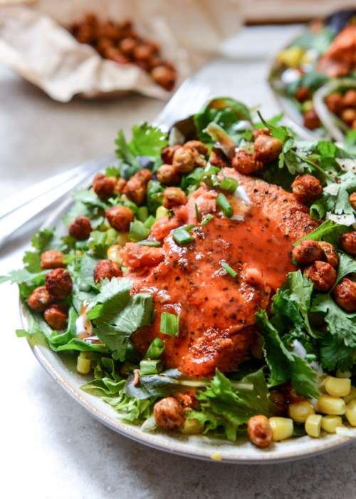 BBQ Salmon and Crispy Chickpea Salads with Greek Yogurt Ranch Drizzle I howsweeteats.com