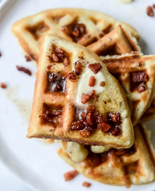 crispy bacon waffles with bourbon butter + blueberry syrup I howsweeteats.com