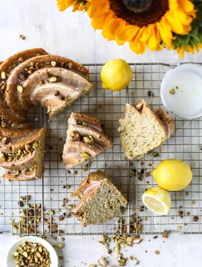 lemon pistachio zucchini cake I howsweeteats.com