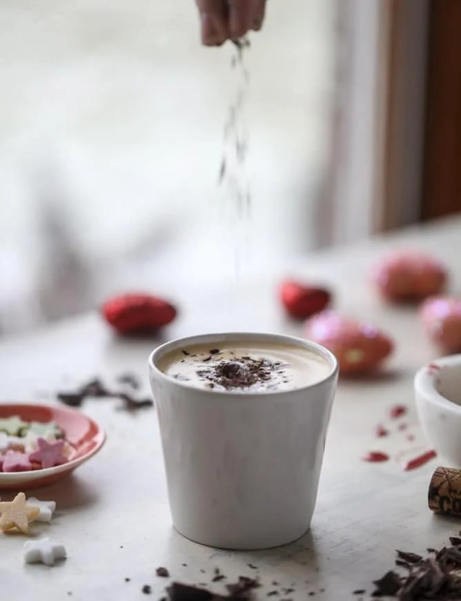 cabernet chocolate lattes I howsweeteats.com #redwine #coffee #latte #valentinesday #chocolate
