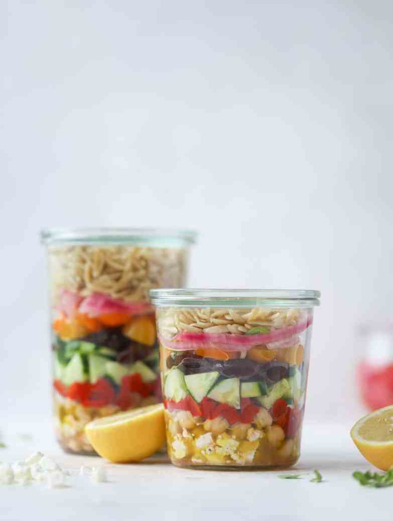 Greek orzo salad in a jar easy and healthy meal prep