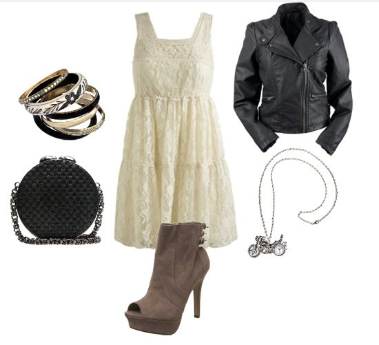 How to Wear a Lace Dress with a Leather Jacket 1