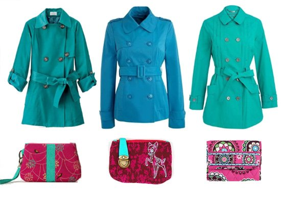 Turquoise Trench Coats Under $50 and Fuchsia Wallets 1