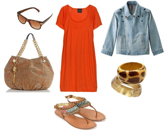 Daily Look: Casual Orange and Denim Flavors 1