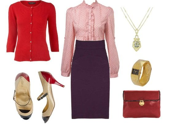 Inspiration Files: Purple & Red Office Outfit  2