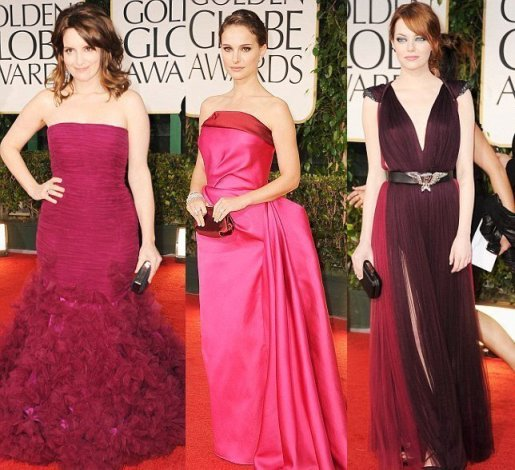 Celebrity Trends: Berry and Rose Evening Dresses 1