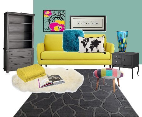 Decor Dare: Mix Turquoise, Yellow and Coal