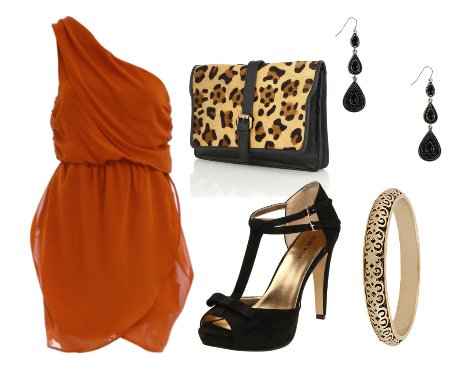 Polished Rust and Leopard Touch: Evening Look for $100 2