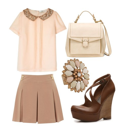 Dainty Nude and Pink Blush 5-Piece Look for $175