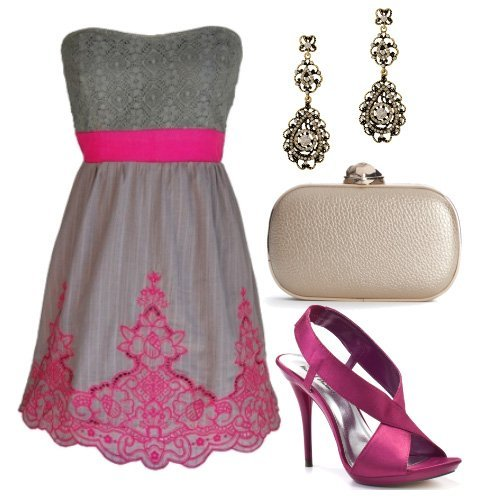 Doll Up in Gray and Magenta! 4 Piece Evening Look Under $130 1