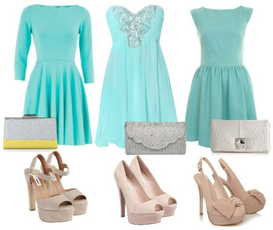How to Wear: Minty Dresses, Nude Heels & Silver Clutches 2