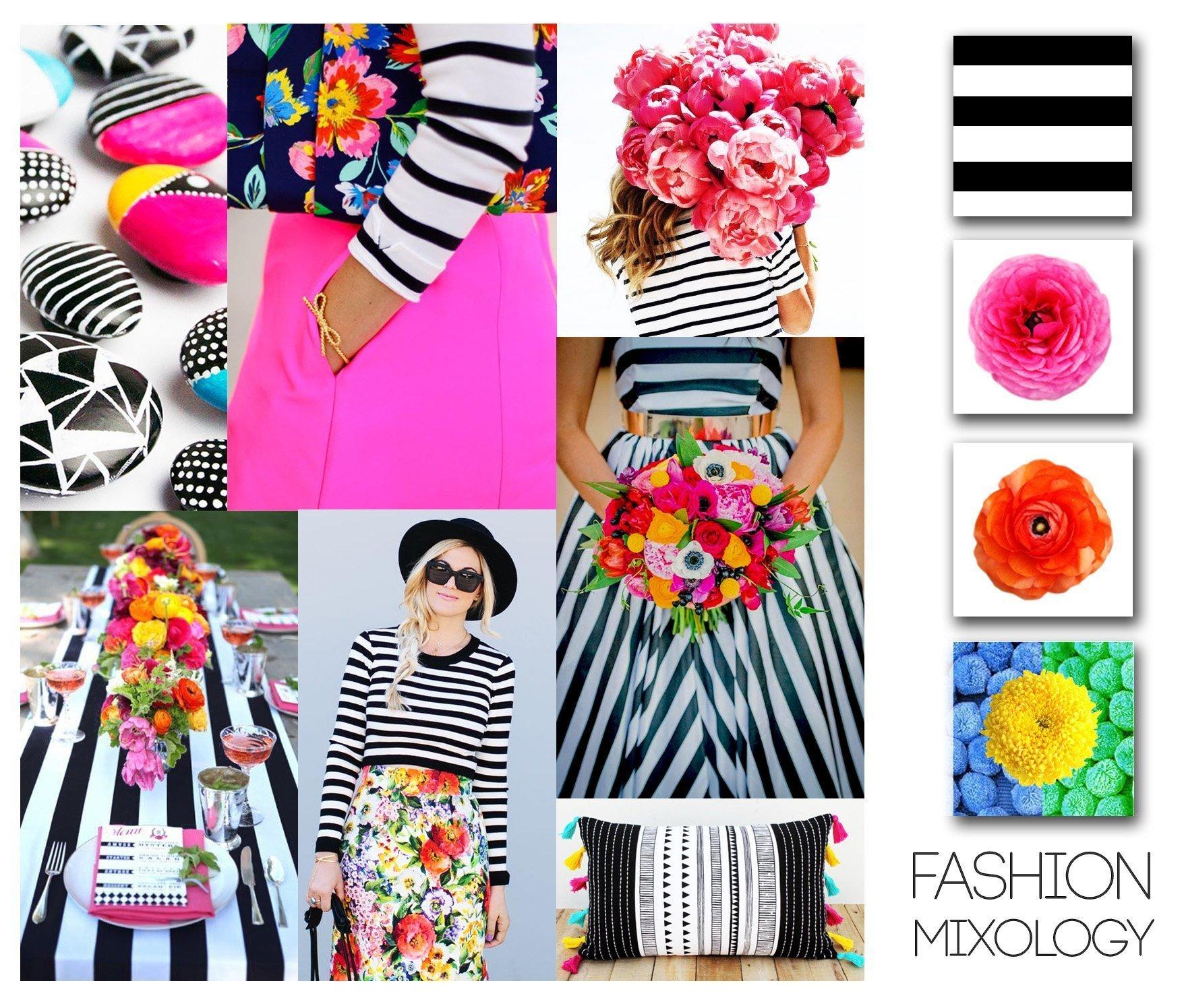 Decor Meets Fashion – Mixing Prints: Desaturated Stripes & Bright Florals