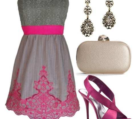 Doll Up in Gray and Magenta! 4 Piece Evening Look Under $130 3
