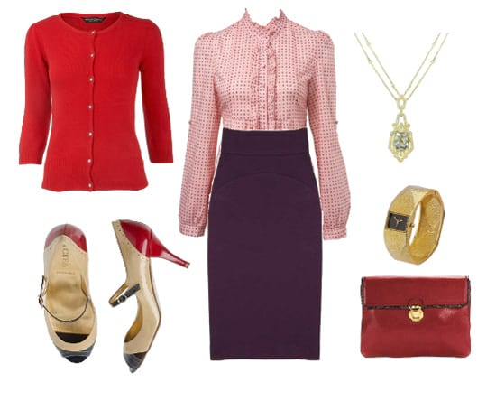 Inspiration Files Purple u0026 Red Office Outfit - How To Be Trendy