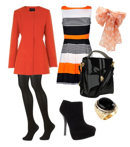 orange black and white outfit how to wear 3