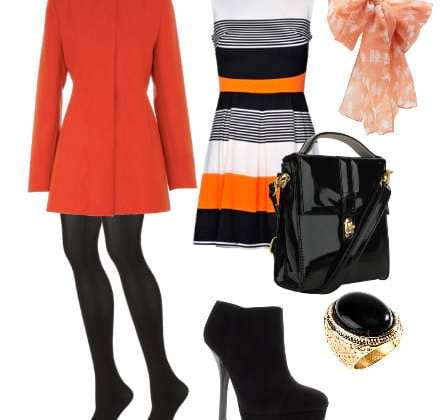 Daily Look: 7-Piece Color-Block Orange, Black and White for $160 3