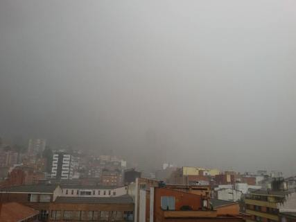 During the rain - on a rainy day in Bogota the mountains can literally disappear behind a wall of water!