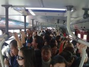 Bogota bus system - a Transmilenio bus at rush hour