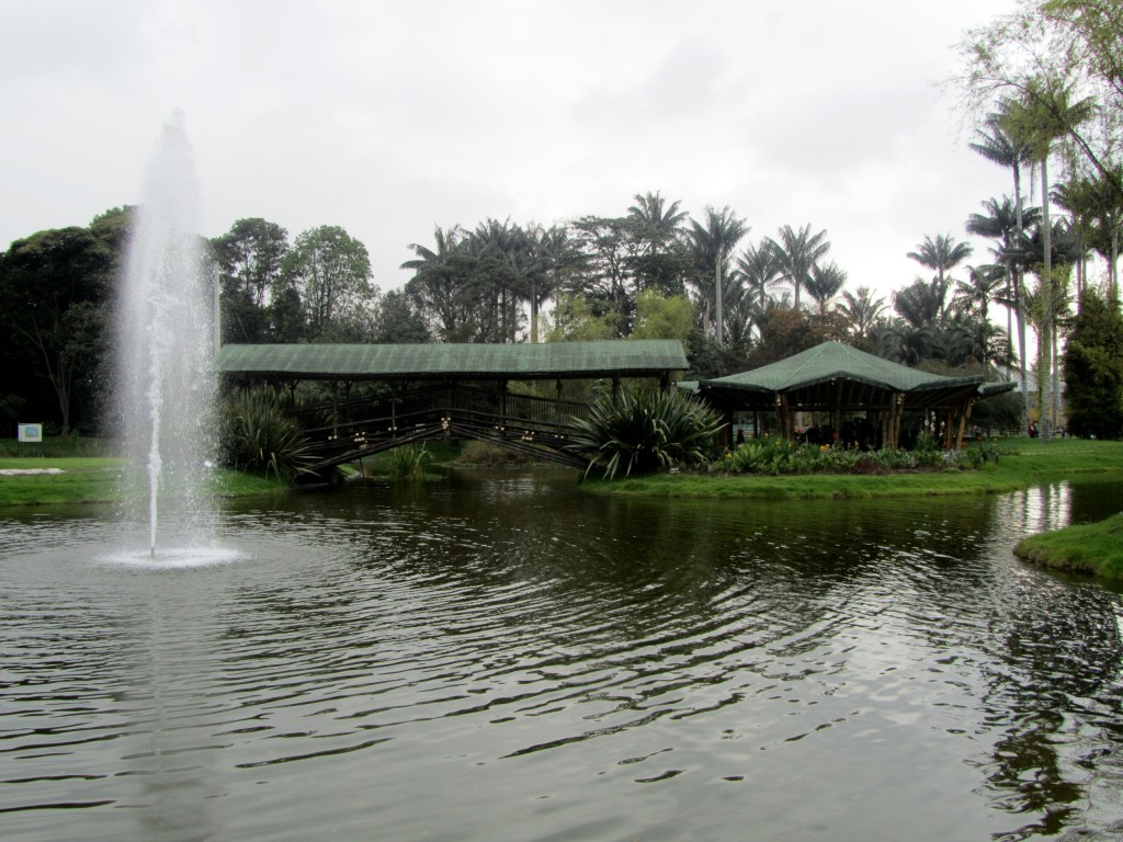 bogotá botanical garden main lake and bridge.