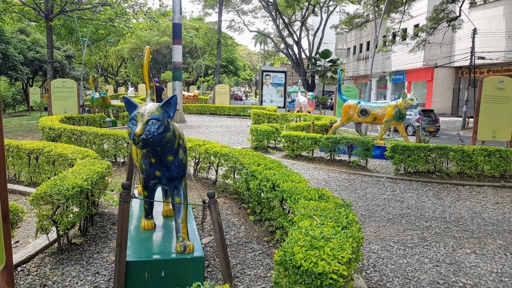 Cat sculptures in the Parque del Gato in Cali, Colombia.
