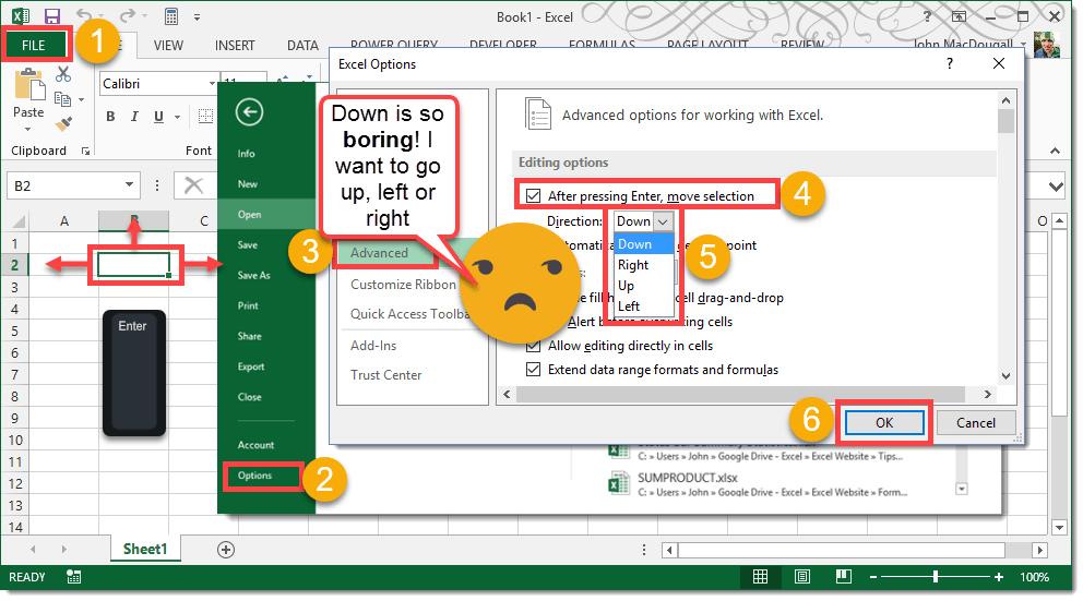 how to change cursor in excel 2016