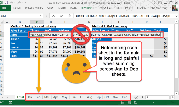 How To Sum Across Multiple Sheets In A Workbook