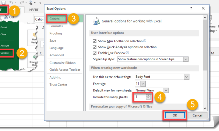 How To Change The Default Number Of Sheets In A New Workbook