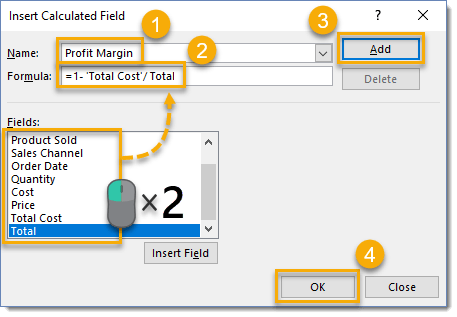 Create-your-Formula-in-the-Insert-Calculated-Field-Dialog-Box 101 Advanced Pivot Table Tips And Tricks You Need To Know