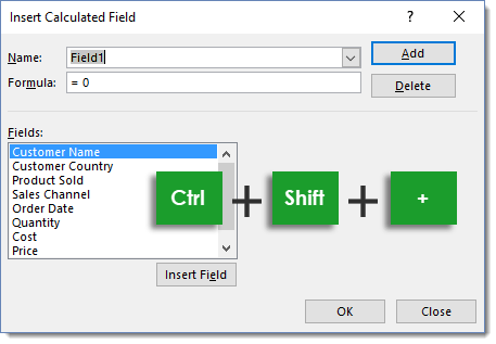 Insert-Calculated-Field-with-Ctrl-Shift- 101 Advanced Pivot Table Tips And Tricks You Need To Know